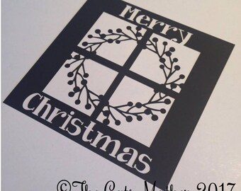Merry Christmas Window Wreath Card  Paper Cutting Template - Commercial Use