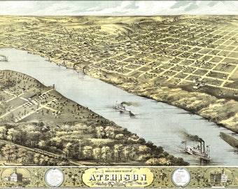 Poster, Many Sizes Available; Birdseye View Map Of Atchison,  Kansas 1869