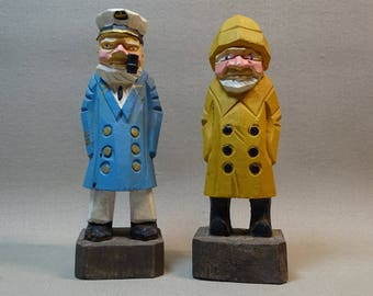 Carved Wood Seamen Two Available