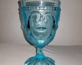 Vintage Aqua Glass Goblet, Aqua Stemware,Blue Glass, Vintage Glass,Wedding,Shower,Heart Pattern,Aqua Wine Glass,Replacement Glass,Aqua Glass