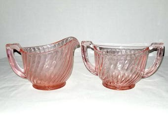 Rosaline Pink Creamer Set,Pink Swirl Arcoroc Glass,Pink Glass Creamer Set,Pink Creamer,Pink Sugar Bowl, Shabby Chic, Arcoroc,Pink,1960s