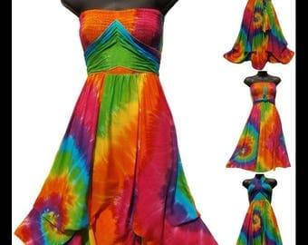 Tie-Dye Dress/Sundress/Hippie/Boho/Beach/ /cover up.