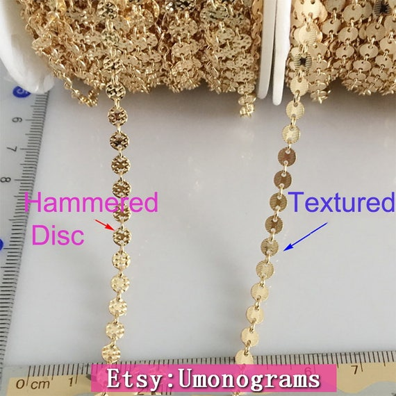 14k Gold Filled Chain Ring Amp Textured Hammered Sequin Disc 4mm