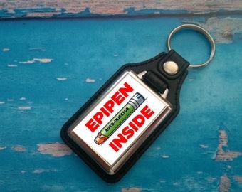 Silver Plated Keyring - Key Ring - Key Chain - Allergic - EpiPen Inside - Medical Awareness Alert