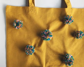 Mustard Yellow Pom Pom Tote Bags