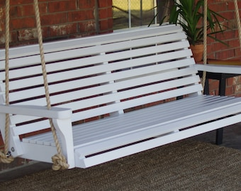 Brand New 4 Foot Painted Classic White Porch Swing - with Hanging Chain or Rope - Free Shipping