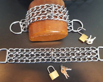 BDSM Cuffs, Chrome Chain Bondage Cuffs, Ankle Cuffs, Sex toys, Bondage toys, Pet Play, Bondage Restraints