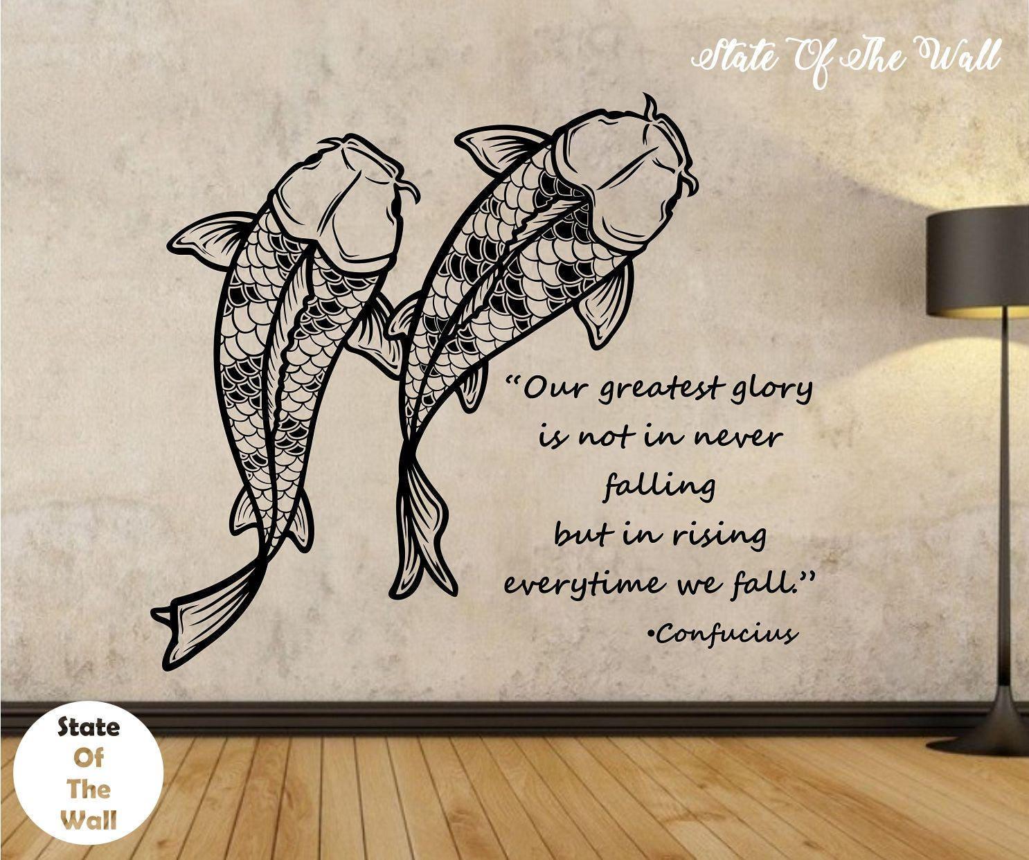 koi fish wall decal confucius quote sticker art decor bedroom zoom