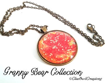 "Handmade Necklace - 1.5"" diameter - Orange Gold Sparkle for the Holidays"