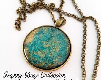 "Handmade Necklace - 1.5"" diameter - Teal & Gold Glitter under Glass"