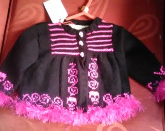 Hand knitted Cardigan to fit a baby girl aged 6-12, months old