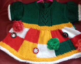 Hand knitted patchwork style dress knitted to fit a baby girl aged 0-3 months old