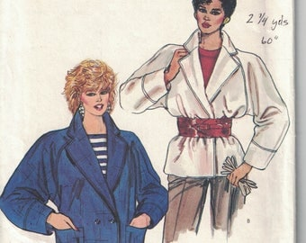 Vogue 8610 Vintage Pattern Womens Loose Fitting Unlined Jacket in 2 Variations Size 8,10,12 UNCUT