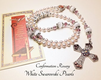 Personalized Confirmation Rosary. Swarovski Pearls. White Rosary. Catholic Rosary. Catholic Gift. Confirmation Gift. Girl Rosary. #3R173