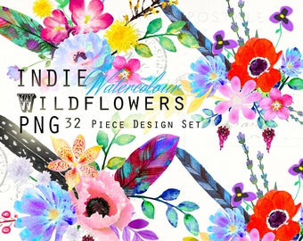 Watercolor PNG Clipart Indie Wildflowers: Poppies, Roses, Flowers, Feathers, Bouquets, Rainbow Digital Clip Art Elements PalaisFleurVintage