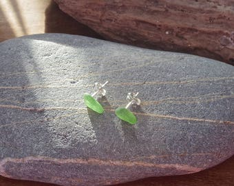 Green sea glass earrings, beach glass earrings, cornish jewellery, sea glass studs
