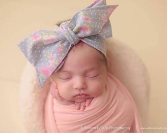 CHAMBRAY FLORAL Gorgeous Wrap- headwrap; fabric head wrap; floral head wrap; boho; newborn headband; baby headband; toddler headband