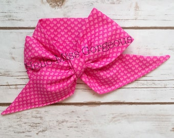 PINK HEARTS Gorgeous Wrap- headwrap; fabric head wrap; heart head wrap; boho; newborn headband; baby headband; toddler headband