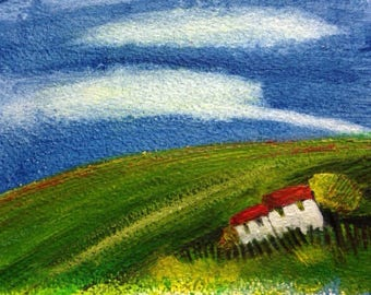 Over the Hill,  painting in acrylics