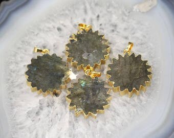 Natural Labradorite Stone Pendants Bulk,Plated Gold Edge Flower Stone Pendentif,Raw Crystals Slabs Charms Necklaces Jewelry