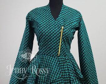 Ankara top African clothing top African print peplum top Ankara zipup double peplum blazer