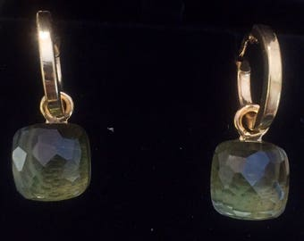 1 Silver earrings and Prasiolite Ring style 1 naked with lemon quartz