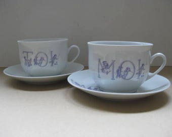 """From the """"Nous Deux""""series, 2 large cups and saucers """"Toi""""and """"Moi"""" in white porcelain."""