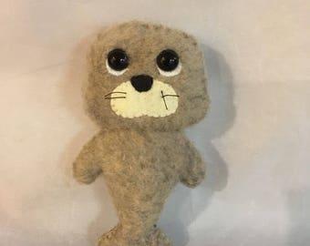 Hand Sewn Felt Plush Baby Seal