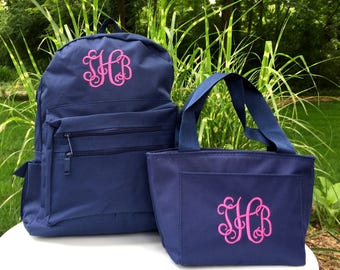 Monogrammed Backpack and Lunchbox - Personalized School Girls Back Pack -  Book Bag - Kids Children - Lunch Tote - Kid Back Pack - Child Bag