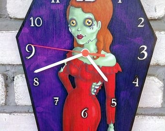 Wooden wall coffin-clock - Lady Zombie. Handmade wall clock