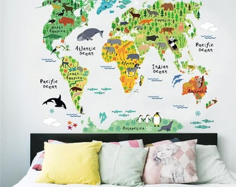 world map decal etsy. Black Bedroom Furniture Sets. Home Design Ideas