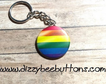 "LGBTQ Rainbow Flag 1.5"" Keychain - Gay Lesbian Transgender Queer Pride - Asexual - Pansexual - Sexuality - Gay Rights - Gay Pride"
