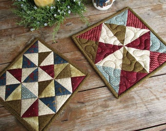 Quilted Potholders, Fabric Trivets, Country Hot Mats, Christmas Mug Rugs, Brown Blue Red Beige Patchwork Pot Holders Set, Thick Baking Mats