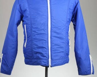 ON SALE Vintage 80s Sportcaster Seattle DOWN Blue Puffy Ski Coat L
