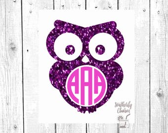 Glitter Owl Decal, Owl Monogram, Monogram Decal, Vinyl Decal, Car Decal, Personalized Gift, Laptop Decal, Yeti Decal, Yeti Cup, Gift for Her