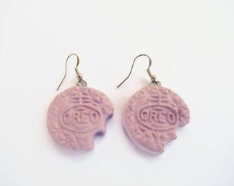 Strawberry polymer clay cookie earrings