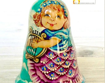 Ukrainian Christmas Cherub Angel Bell Roly Poly with Harp, Christmas Nesting Doll, Nevalyashka Doll, Vintage Matryoshka Dolls.