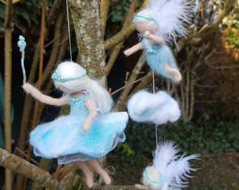 Needle felted fairy cloud and angels inspired Waldorf