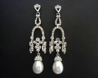 Pearl Earrings Bridal Earrings Wedding Drop Earrings Art Deco Earrings Great Gatsby Art Nouveau Vintage Earrings Downton Downtown Abbey