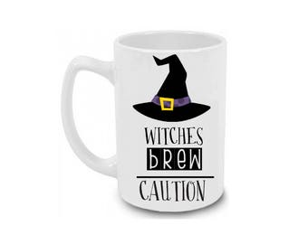 Witches Brew Caution Halloween Coffee Mug