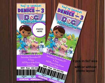 Doc McStuffins Invitations. Doc McStuffins Birthday Invitation. Doc McStuffins Party. Ticket Style. Digital (you print)
