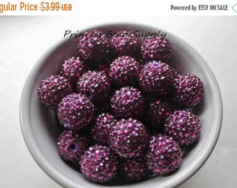 SALE 20mm Plum Dark Purple AB Rhinestone Chunky Beads Set of 10,  Purple Bubble Gum Beads, Gumball Beads, Acrylic Beads