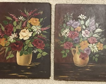 ROSES & FLOWERS in VASE Antique Original Paintings Signed Crane (set of 2)