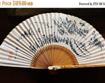 Vintage Chinese painting ink-water Water-Landscape on paper fan fine preserved on torching-carved bamboo petals 徐石汀