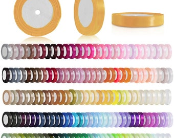 """25 Yards Satin Ribbon Roll, 1/4"""" 6mm, Single-Sided, Wedding Embellishment, Gift Packing, Craft Bows, 160 Colors, V-RN0002(71-140)"""