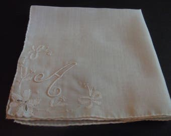 """Pretty Ivory Vintage Hankie Letter """"A""""  Estate Sale Shabby Chic 12  inches by 12 inches"""