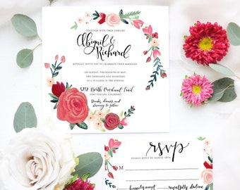 Pink Floral Wreath Square Wedding Invitation