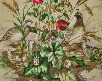 SCALAMANDRE EDWIN'S COVEY Pheasant Linen Toile Fabric 10 Yards Sisal Multi