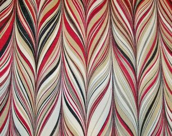 SCHUMACHER RETRO MARBELIZED Stripes Linen Fabric 10 yards Ruby