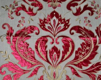 OPULENT OPERA Damask Velvet Embroidered Applique on Linen Fabric REMNANT Ruby 1A